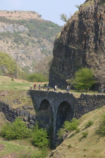 Cycling on Clydach Gorge Viaduct